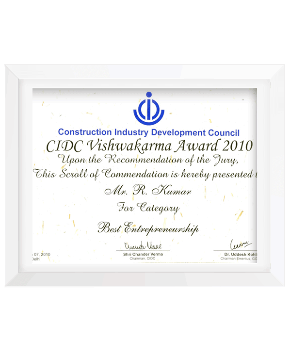 CIDC Vishwakarma Certification 2010